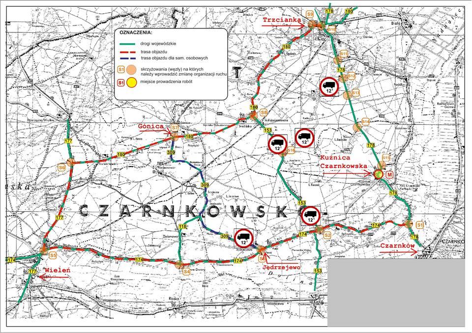 Utrudnienia w Kuźnicy Czarnkowskiej