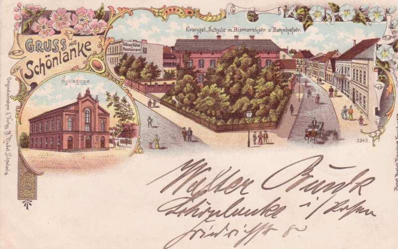 Pocztówka z przedwojennej Trzcianki (dawniej Schönlanke)